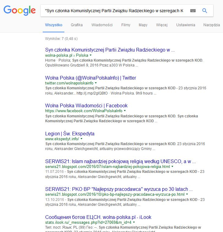 screenshot google banuje ekspedyta