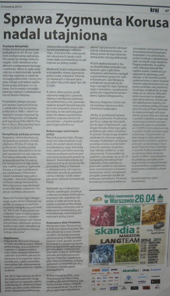 Sprawa Zygmunta Korusa nadal utajniona, Warszawska Gazeta, Nr 16, 18-24.04.2014